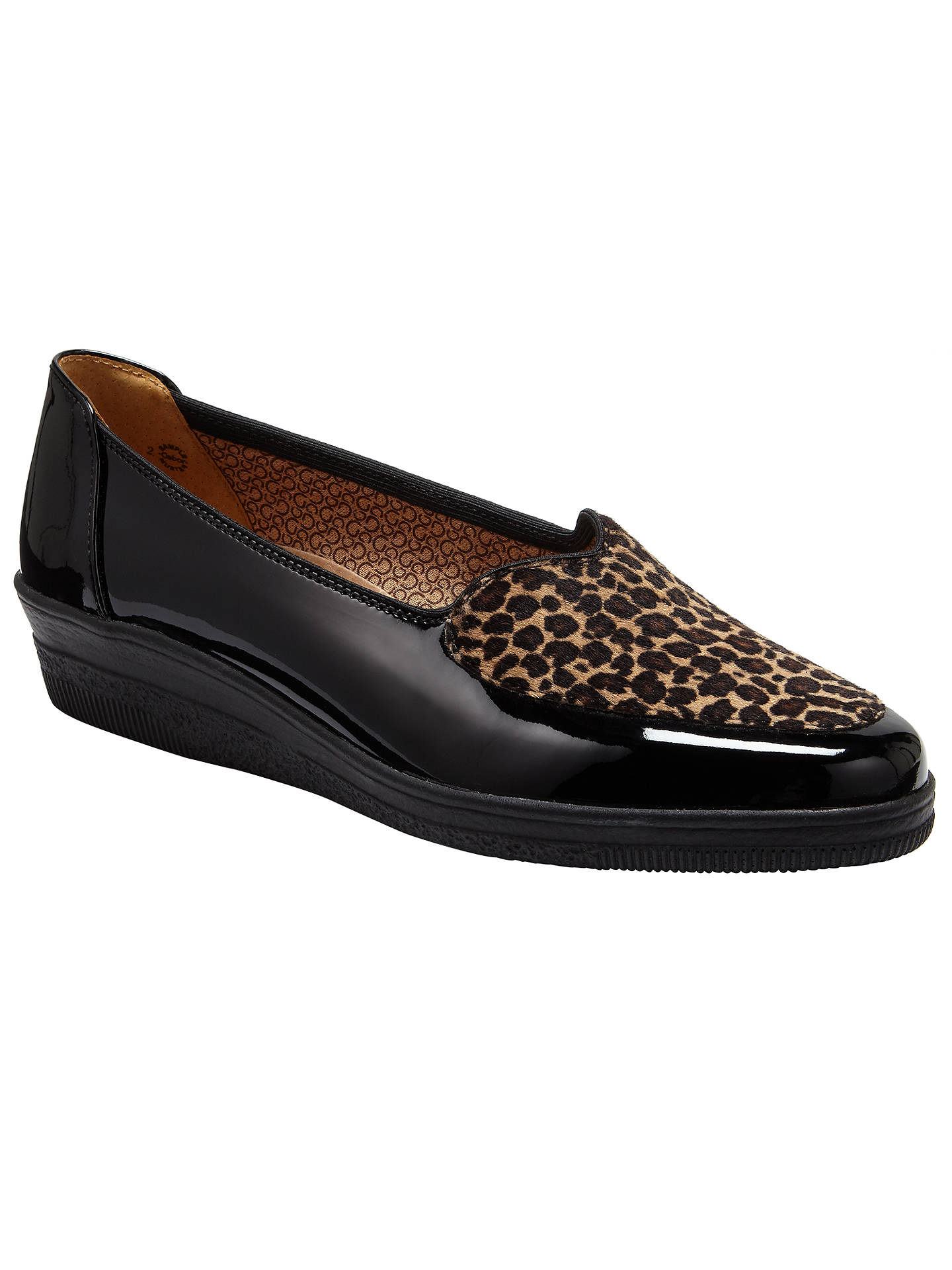 6258c052eecd Buy Gabor Blanch Wide Fit Patent Wedge Pumps, Black/Leopard, 3 Online at ...