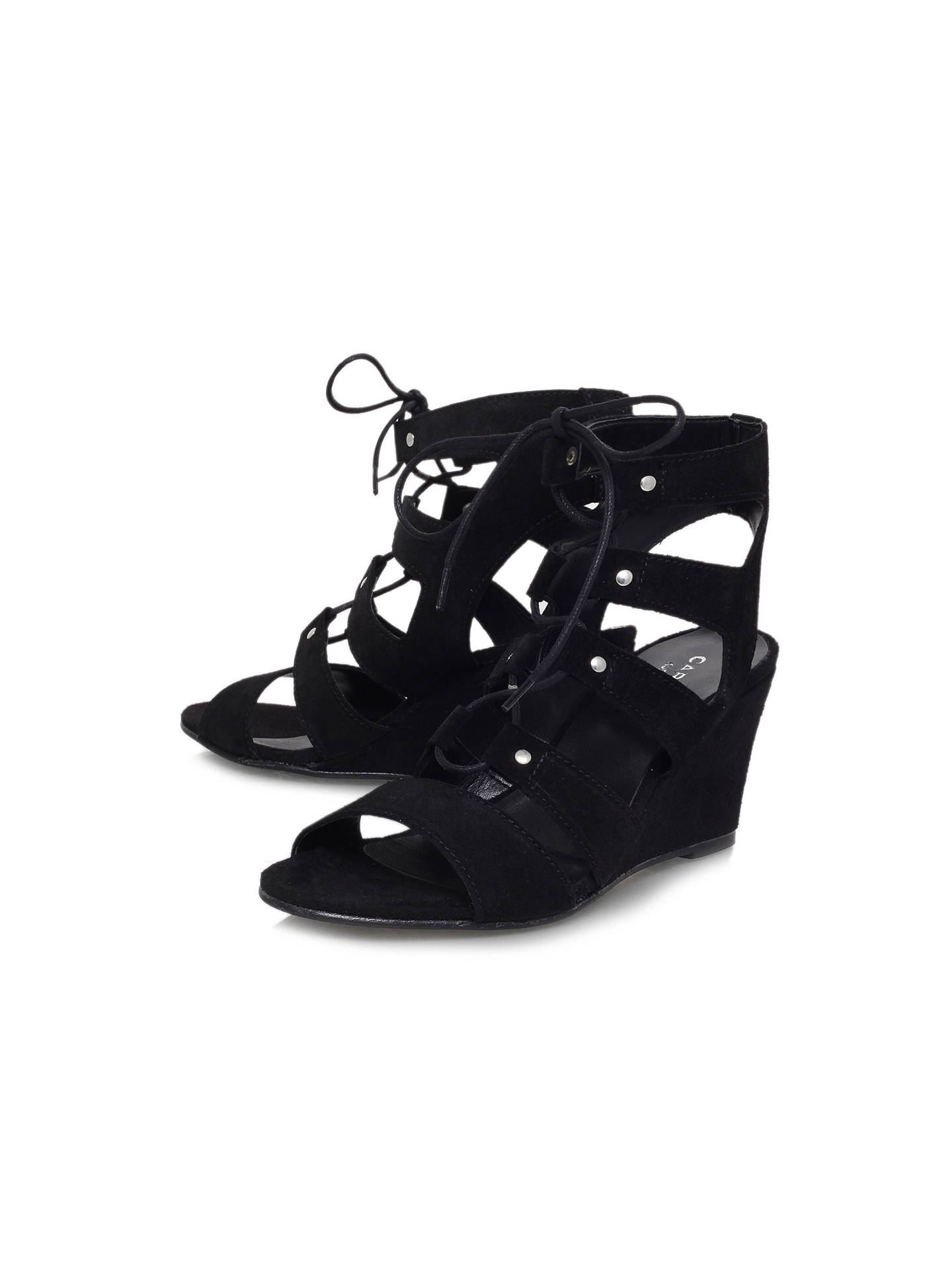 Buy Carvela Khristie Lace Up Wedge Heeled Sandals, Black Suede, 3 Online at johnlewis.com
