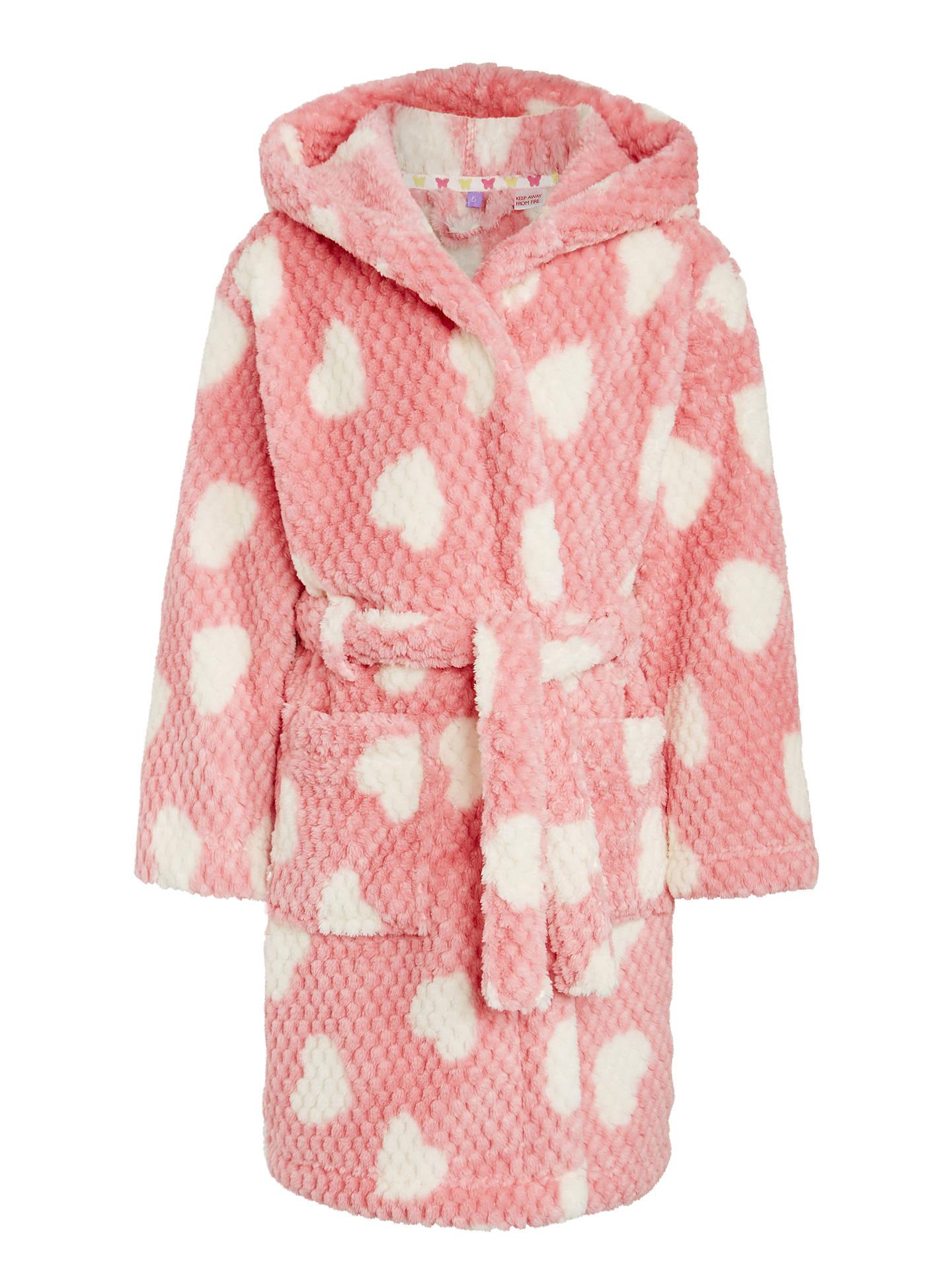 John Lewis Girls Heart Print Dressing Gown Pink At John Lewis