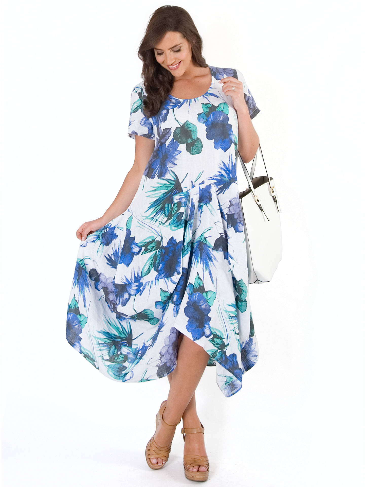 Buy Chesca Floral Print Linen Dress, White/Blue, 12-14 Online at johnlewis.com
