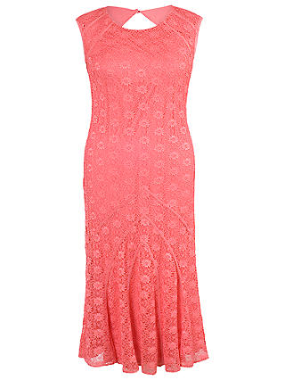 Buy Chesca Daisy Stretch Lace Cathedral Detail Dress, Coral Red, 12 Online at johnlewis.com