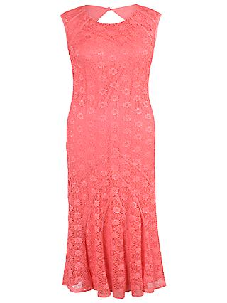 Chesca Daisy Stretch Lace Cathedral Detail Dress, Coral Red
