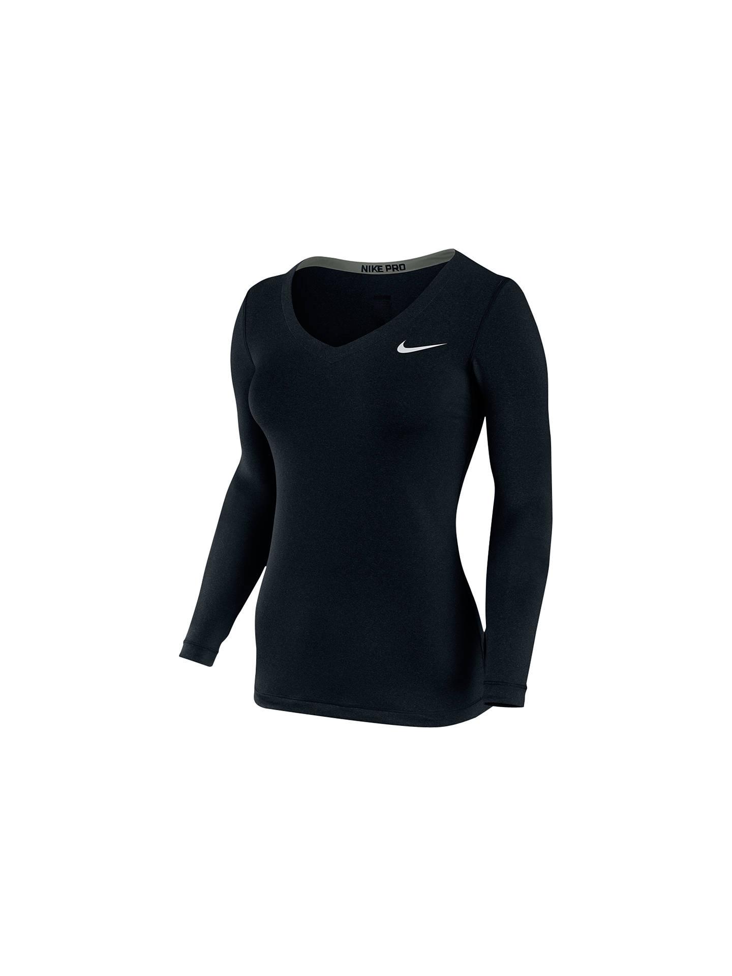 c639bf4b Nike Pro Long Sleeve V-Neck T-Shirt, Black at John Lewis & Partners