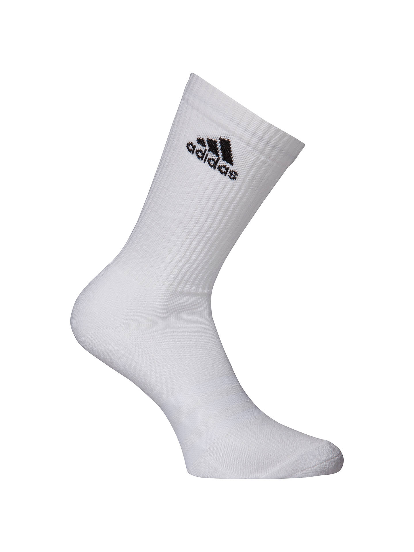 Buyadidas 3-Stripe Performance Crew Socks, Pack of 6, White, S-M Online at johnlewis.com