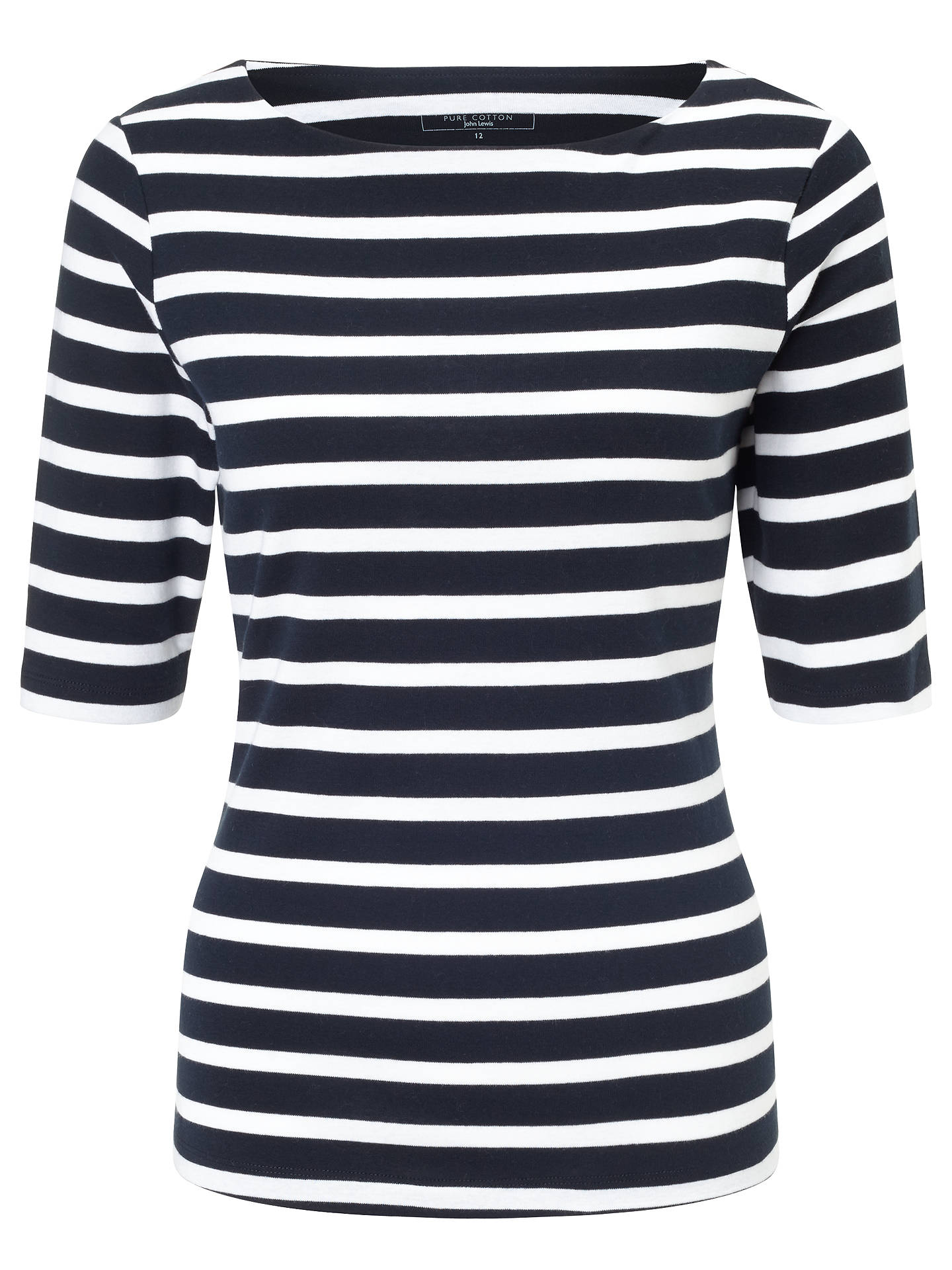 BuyJohn Lewis & Partners Half-Sleeve Breton Stripe Top, Navy/White, 8 Online at johnlewis.com