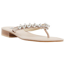 Buy Dune Niki Leather Bejewelled Sandals, Blush Online at johnlewis.com