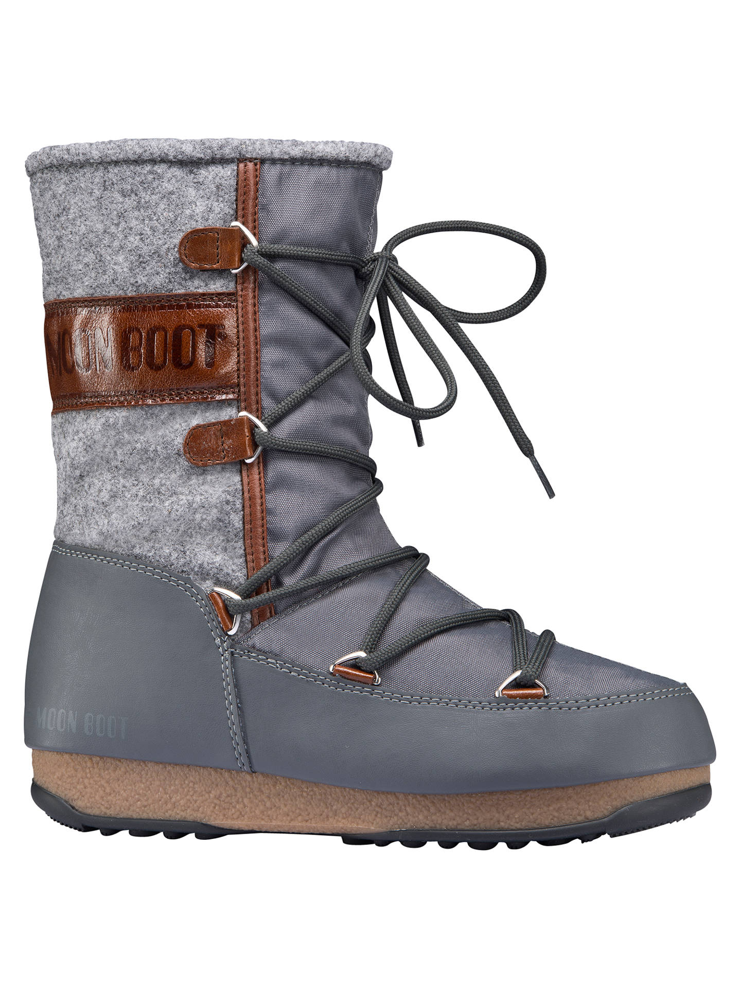 brand new 52b70 eeb8b Moon Boot Vienna Flat Calf Boots, Grey at John Lewis & Partners