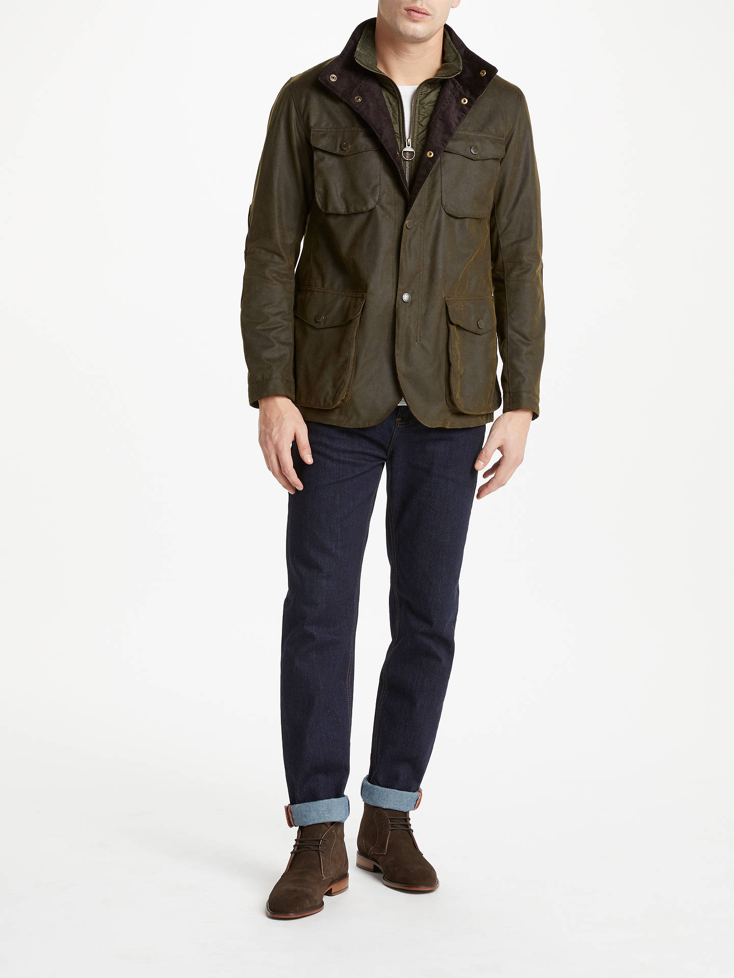 Buy Barbour Ogston Waxed Jacket, Olive, S Online at johnlewis.com