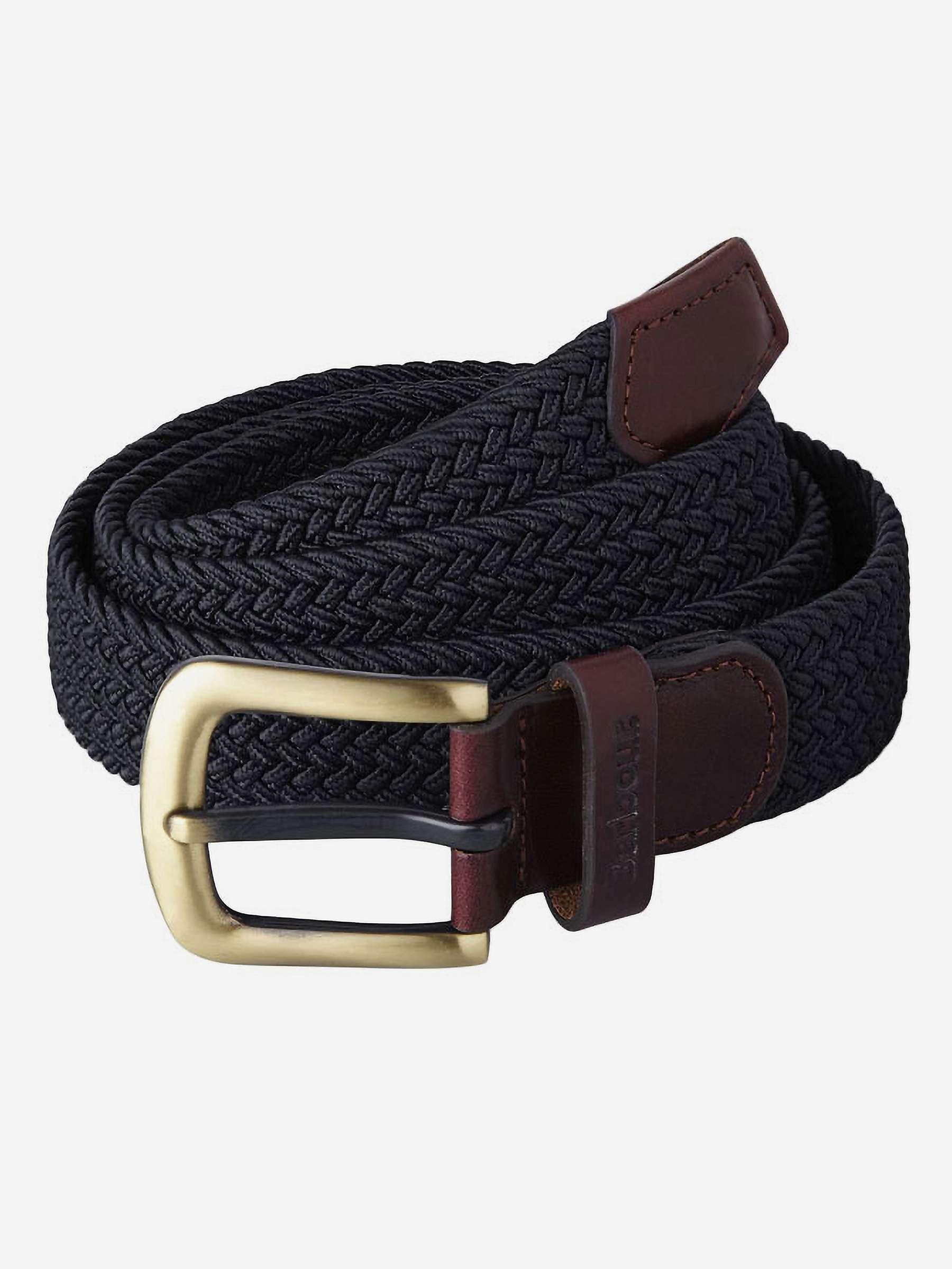 Barbour Webbing Leather Trim Belt, Navy by John Lewis