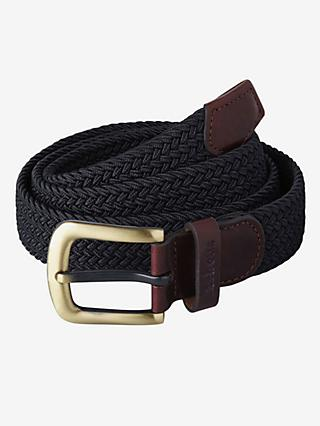 Barbour Webbing Leather Trim Belt, Navy