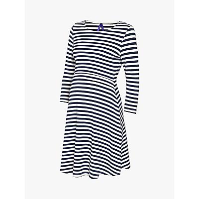 Séraphine Nadia Nautical Stripe Nursing Maternity Dress, Navy/White
