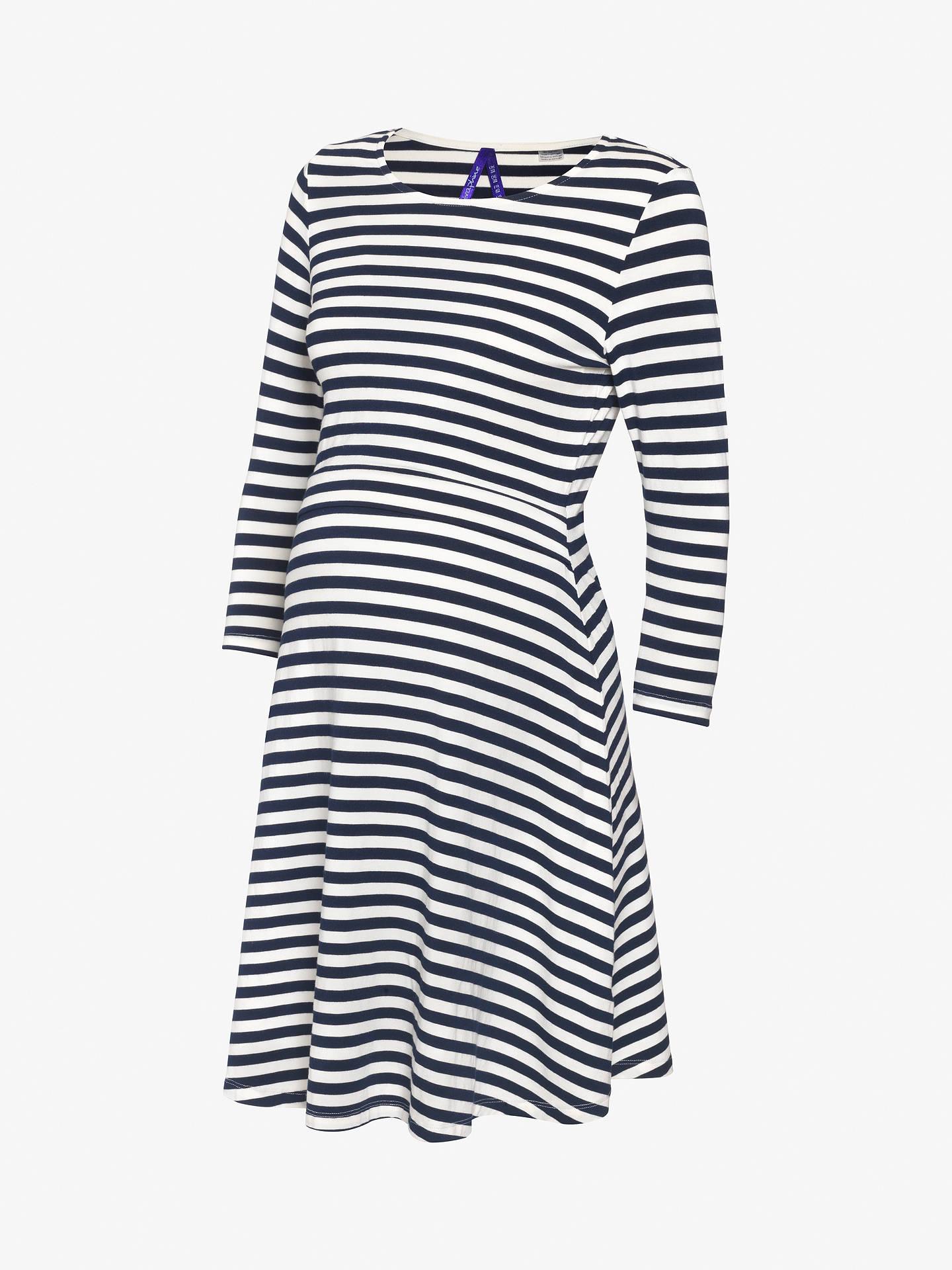 05957105f8e48 ... Buy Séraphine Nadia Nautical Stripe Nursing Maternity Dress, Navy/White,  8 Online at