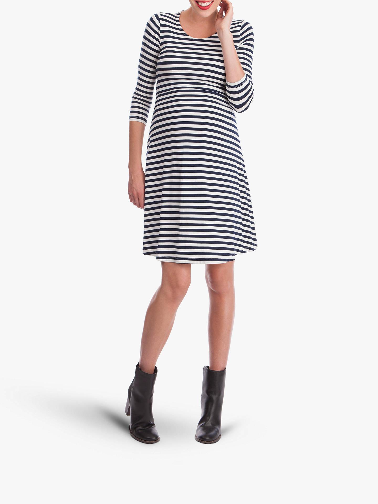 16d1bc7c8b857 Buy Séraphine Nadia Nautical Stripe Nursing Maternity Dress, Navy/White, 8  Online at ...