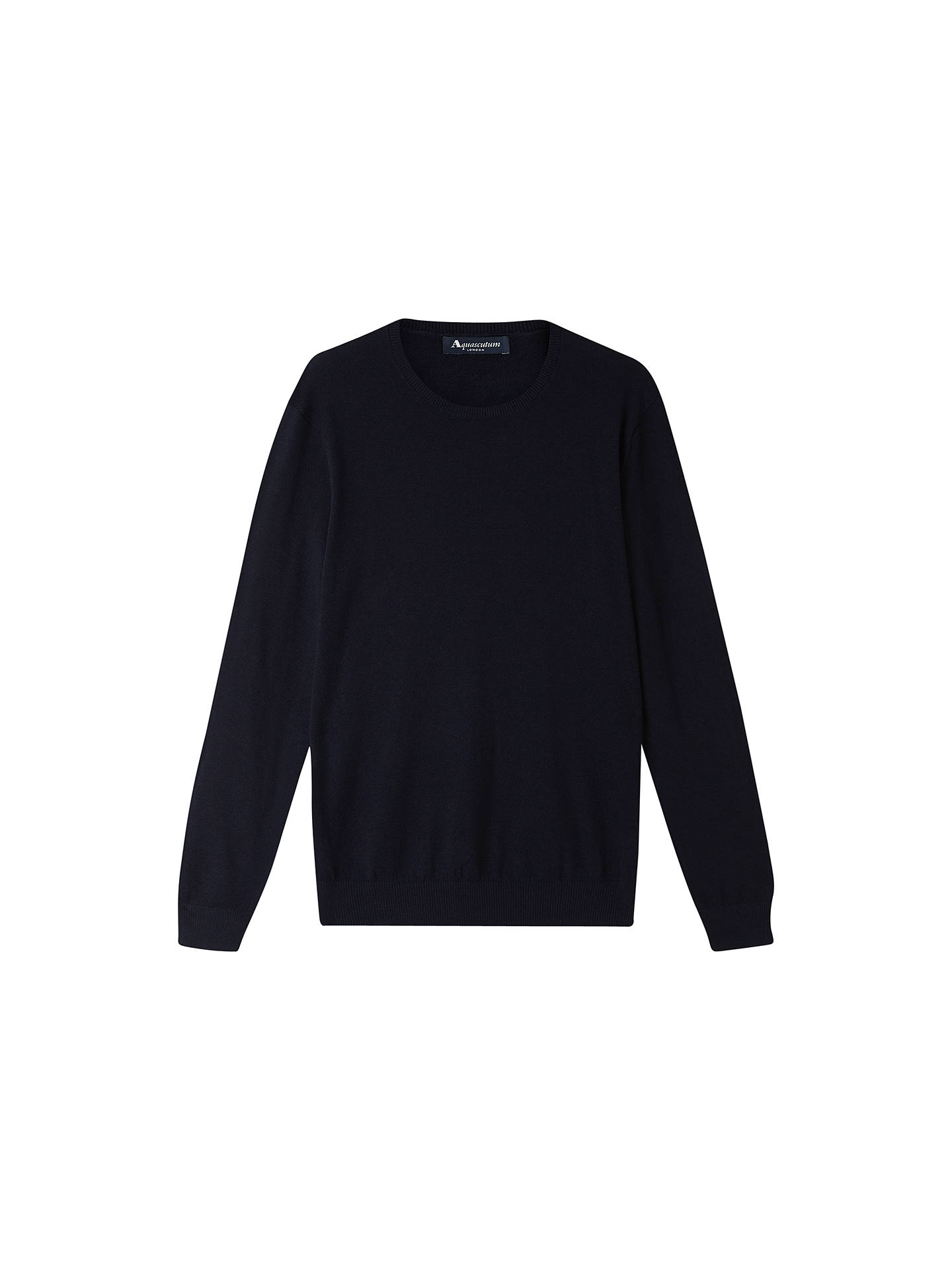 Aquascutum Merino Crew Neck Jumper, Navy at John Lewis