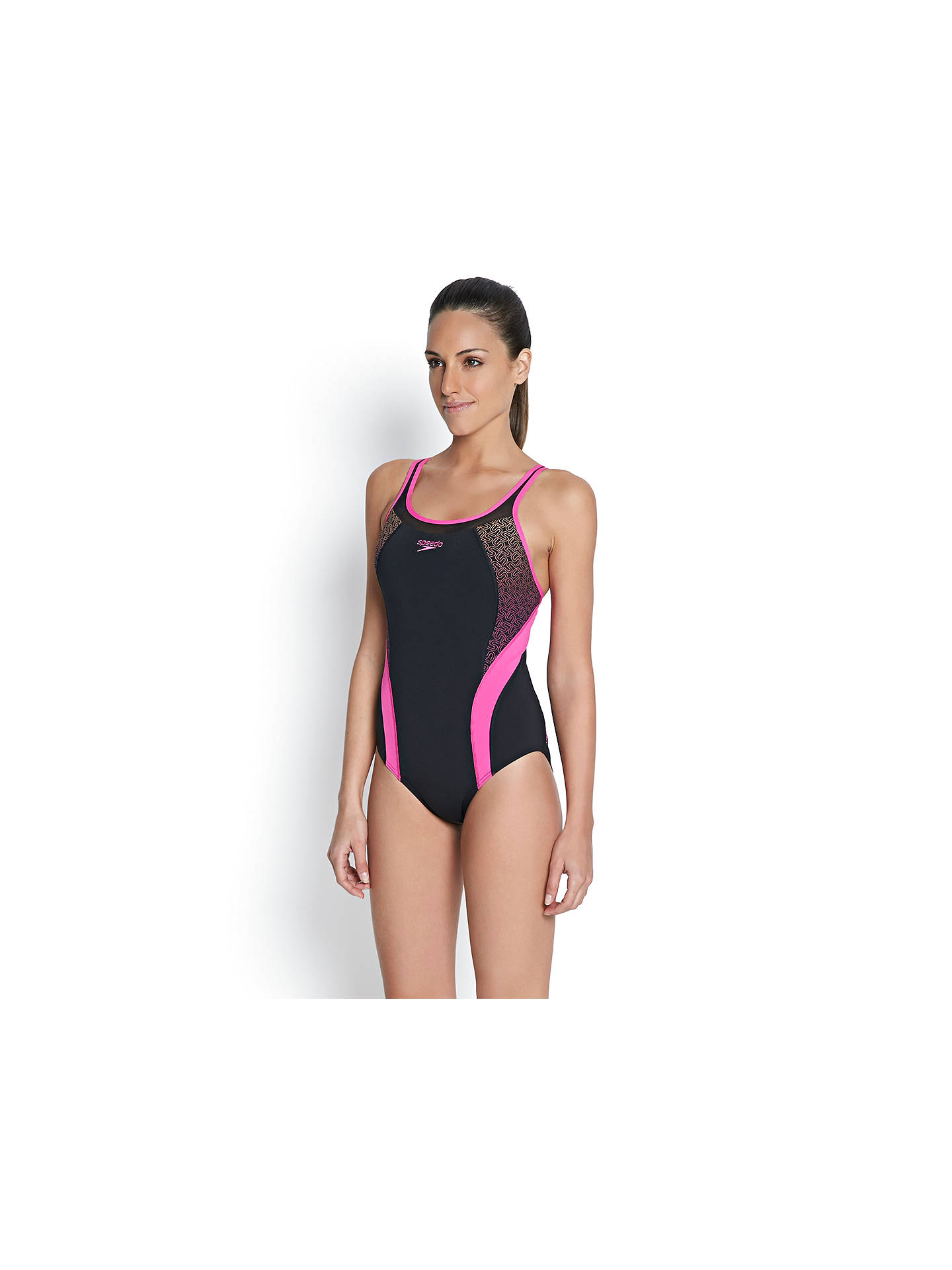 Speedo Fit Body Positioning Kickback Swimsuit, BlackPink at