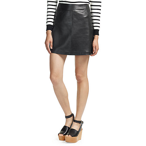 Buy Whistles Leather A-Line Skirt, Black | John Lewis