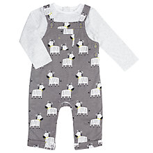 Buy John Lewis Baby Zebra Dungaree Set, Charcoal Online at johnlewis.com