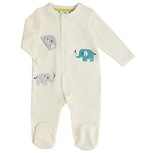 Buy John Lewis Baby Elephant Sleepsuit, Cream Online at johnlewis.com