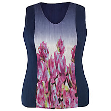Buy Chesca Reversible Floral Border Crush Pleat Top, Navy Online at johnlewis.com