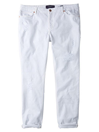 Buy Violeta by Mango Boyfriend Laura Jeans, White, 18 Online at johnlewis.com