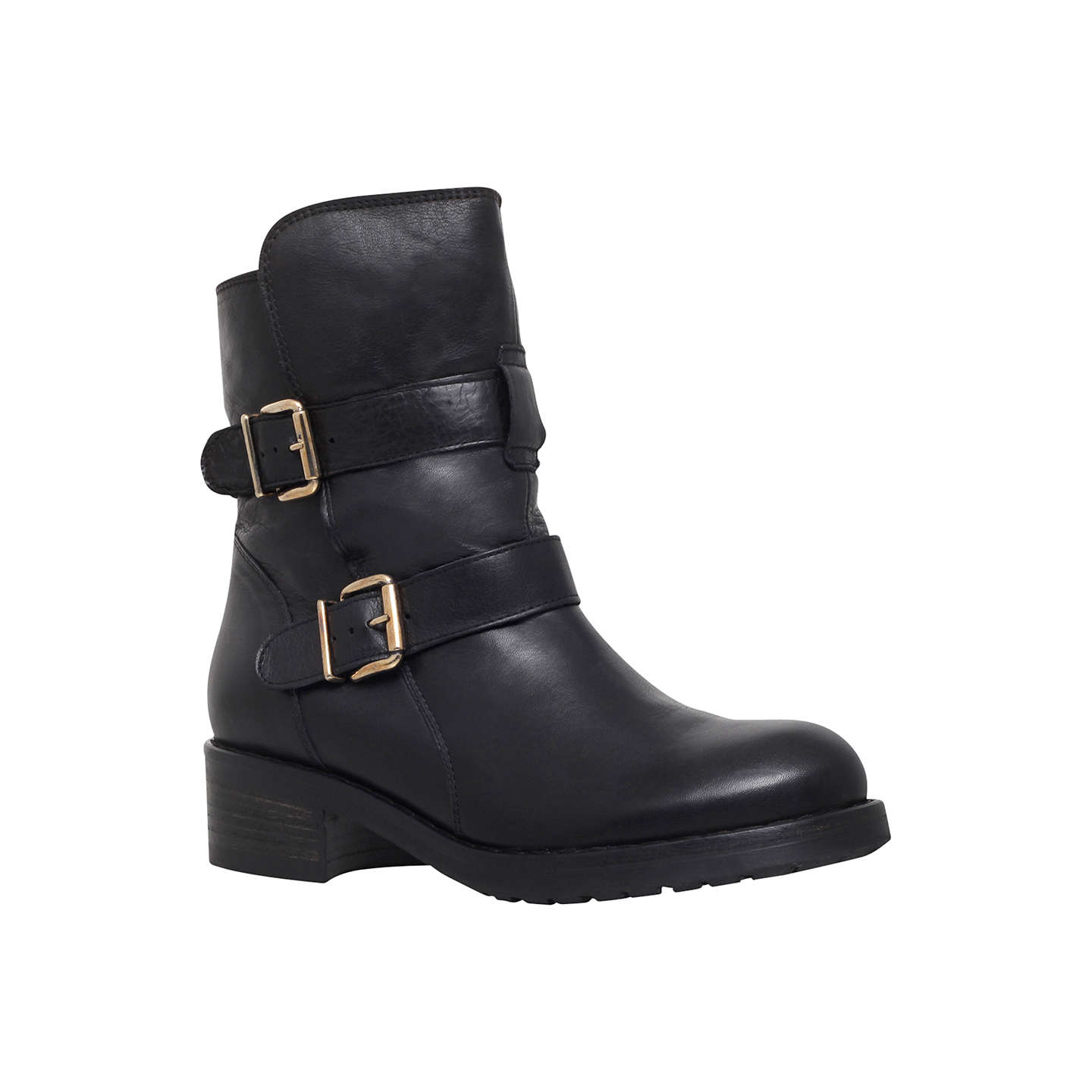 BuyKurt Geiger Richmond Leather Low Heel Ankle Boots, Black, 3 Online at  johnlewis.