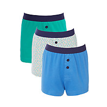 Buy John Lewis Boys' Dots Boxer Shorts, Pack of 3, Blue/Green/Grey Online at johnlewis.com