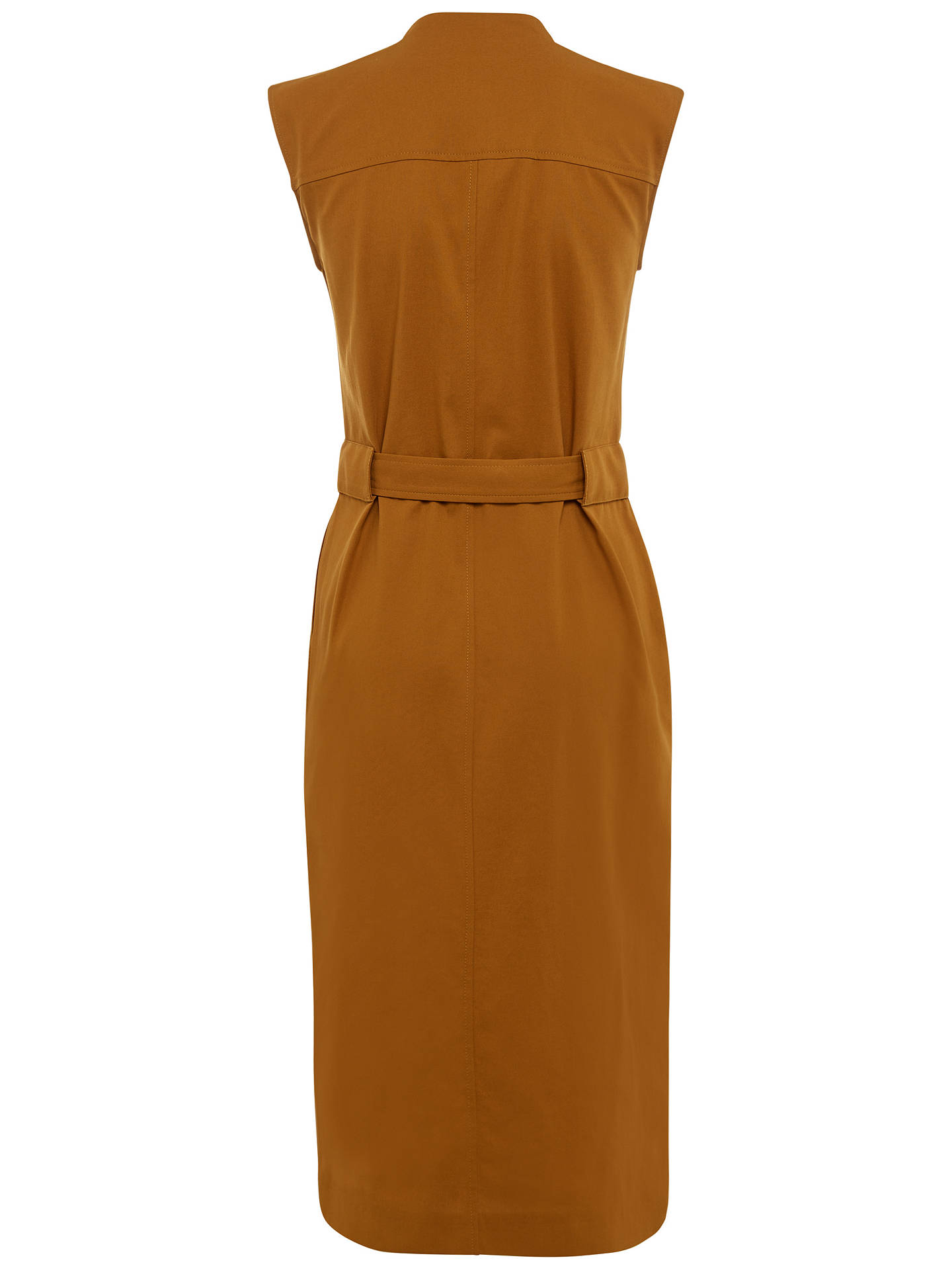 Jaeger Casual Belted Cotton Dress, Bronze at John Lewis