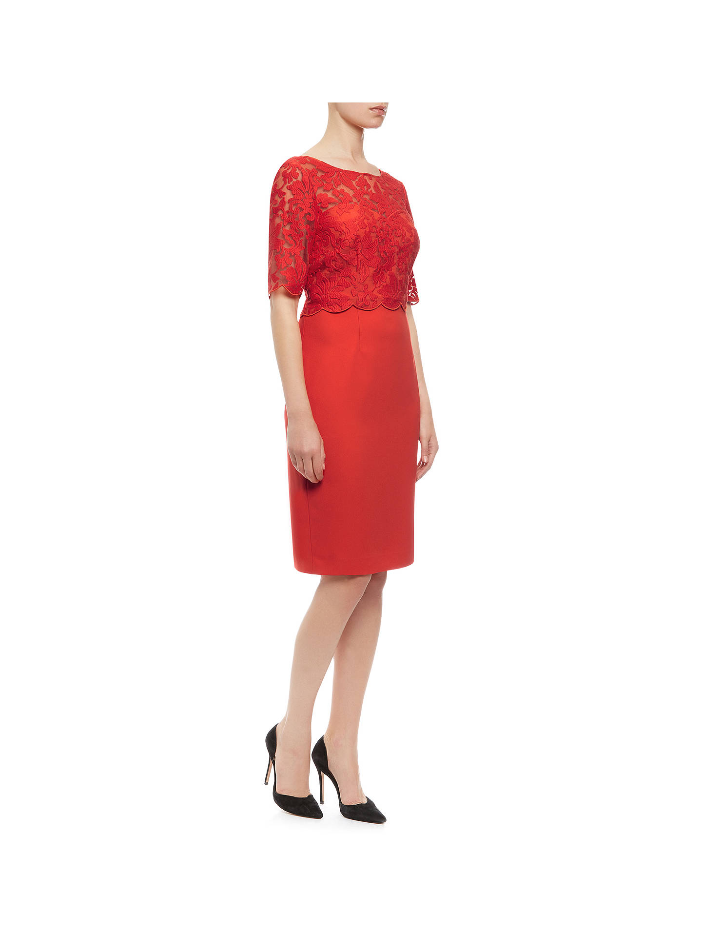 san francisco sold worldwide newest collection Kaliko Lace Bodice Dress, Bright Red at John Lewis & Partners