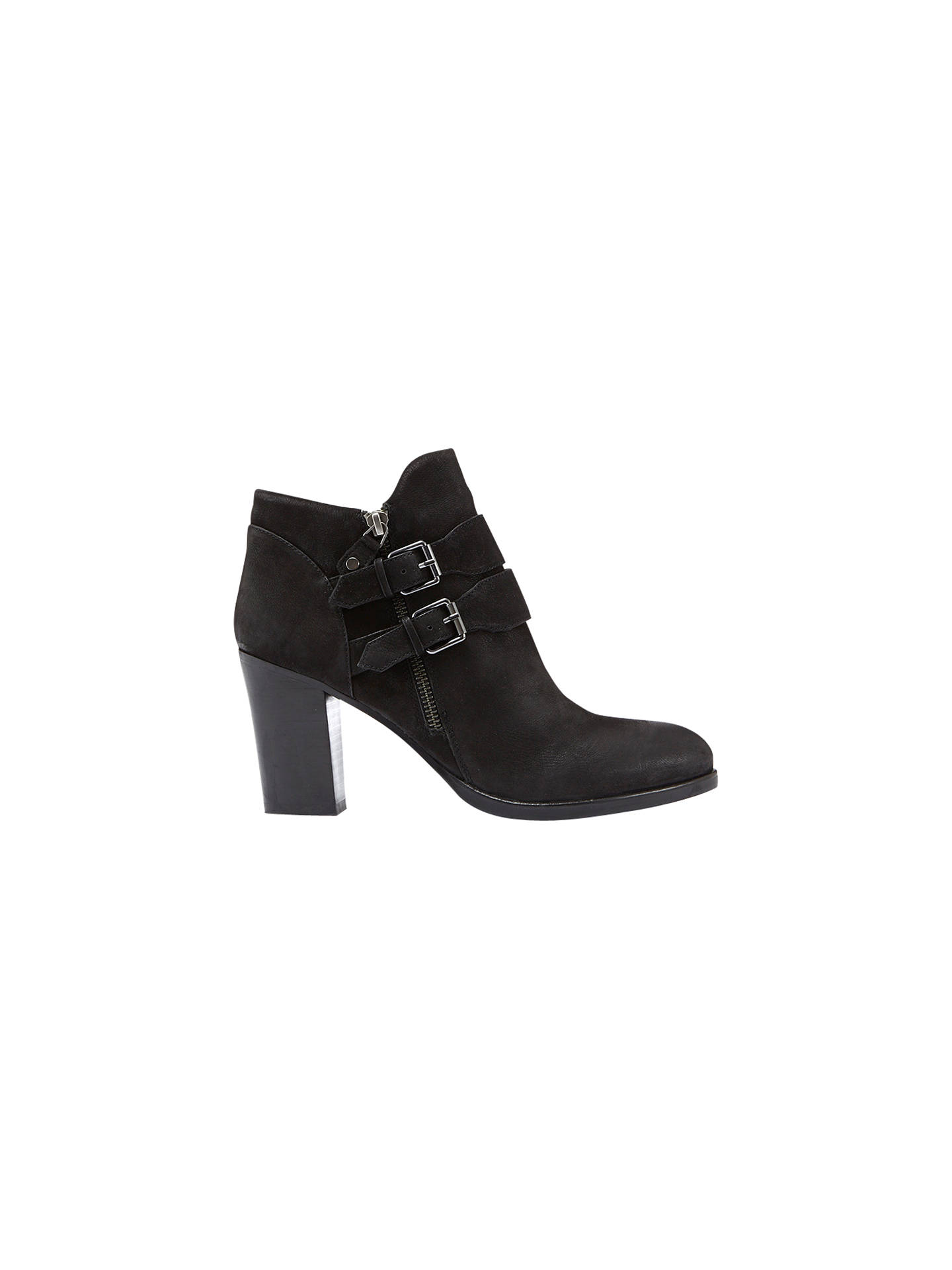 BuyMint Velvet Peggy Buckle Detail Block Heeled Ankle Boots, Black Leather, 3 Online at johnlewis.com