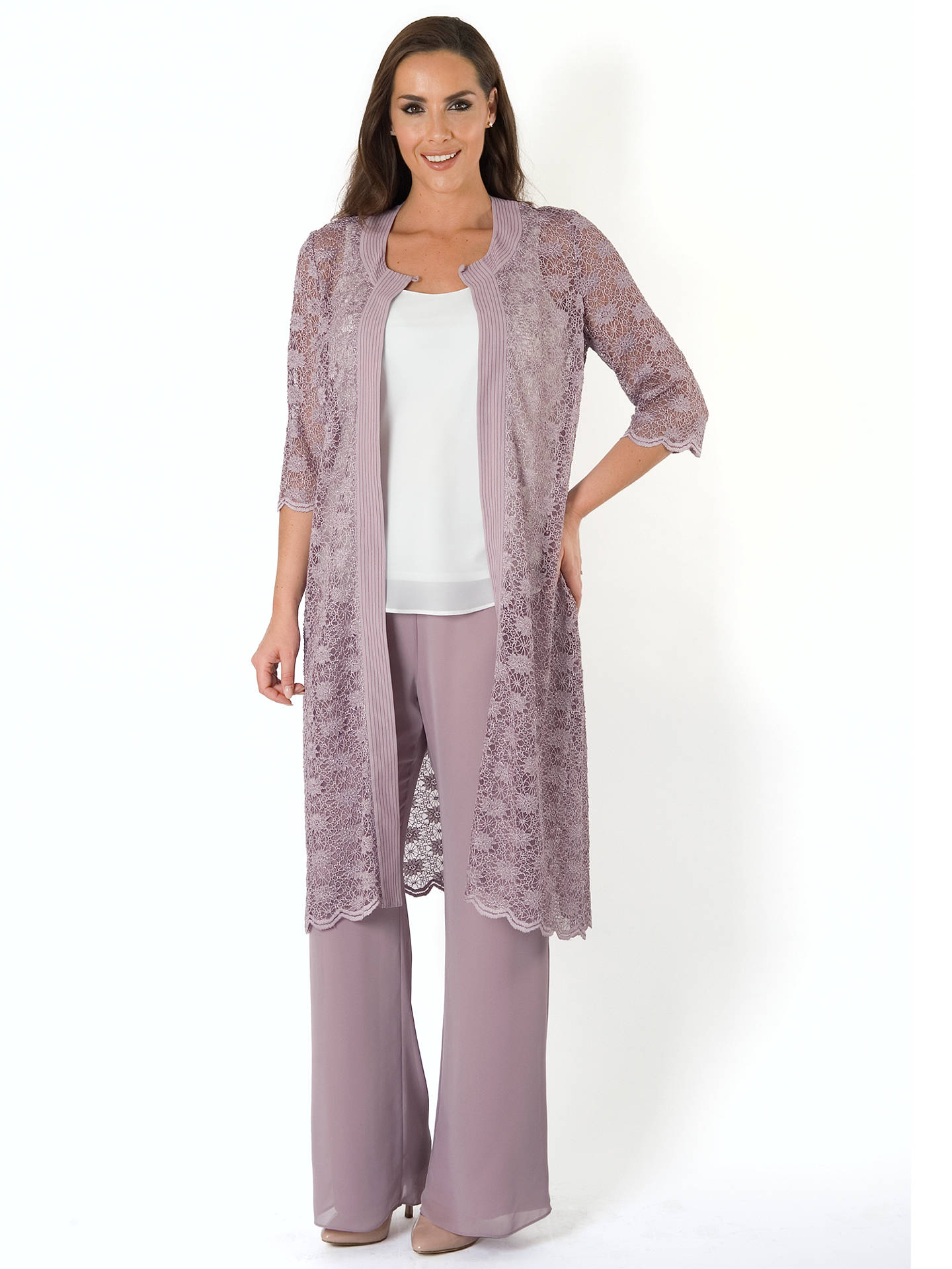 Buy Chesca Jersey Lined Chiffon Trouser, Dark Lavendar, 14 Online at johnlewis.com