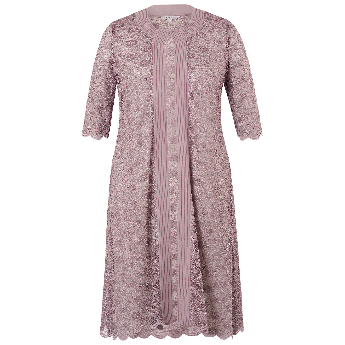 BuyChesca Scallop Lace Coat, Dark Lavender, 22 Online at johnlewis.com