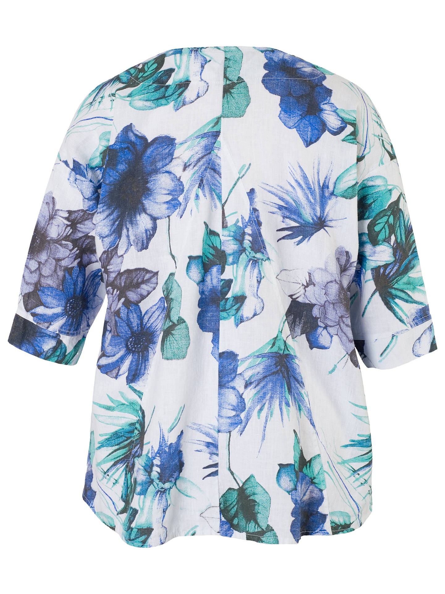 BuyChesca Print Linen Jacket, White/Blue, 12-14 Online at johnlewis.com