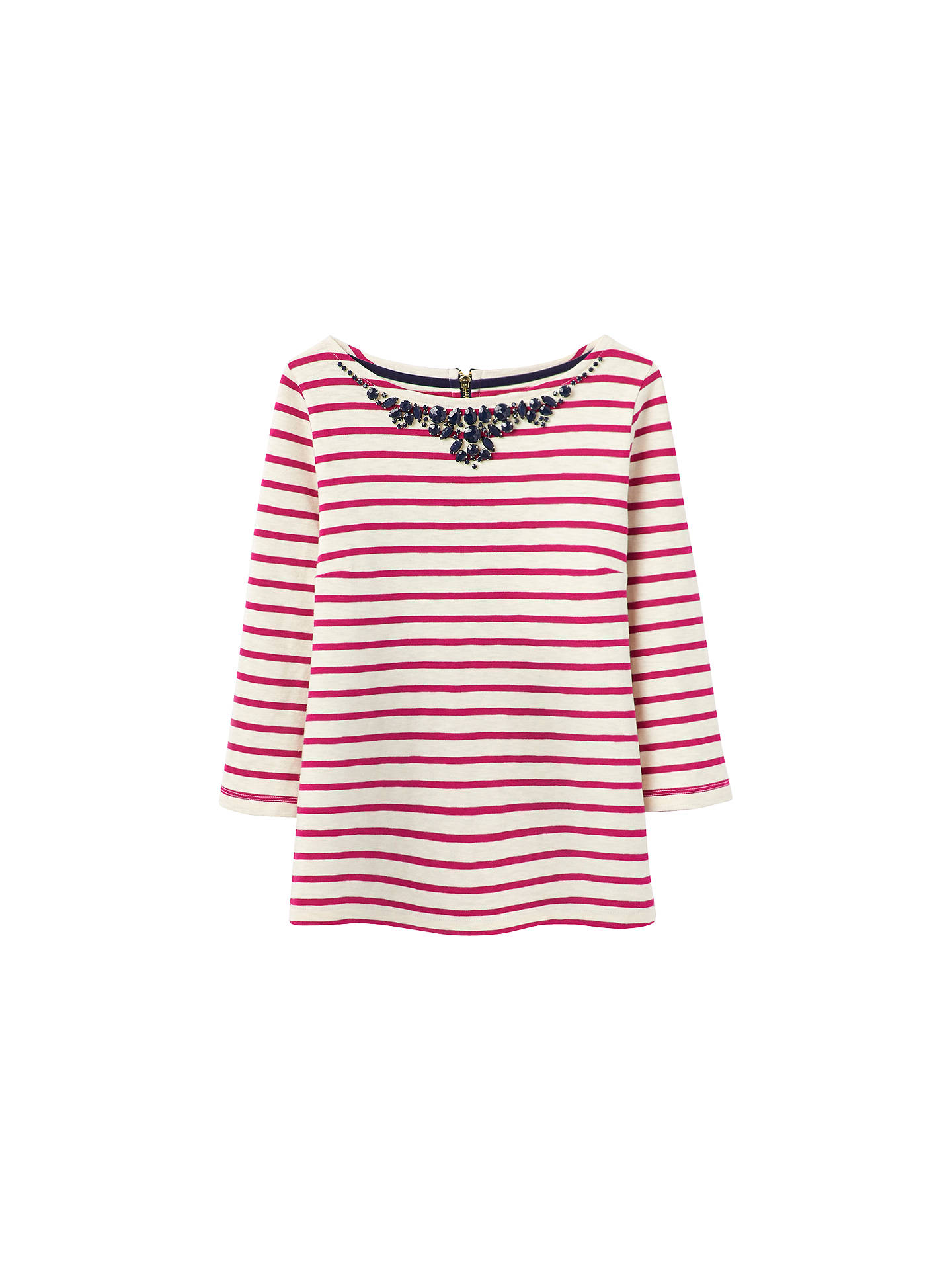 Buy Joules Gemma Beaded Neck Jersey Top, Ruby Pink, 18 Online at johnlewis.com