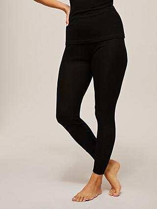 John Lewis & Partners Thermal Silk Leggings, Black