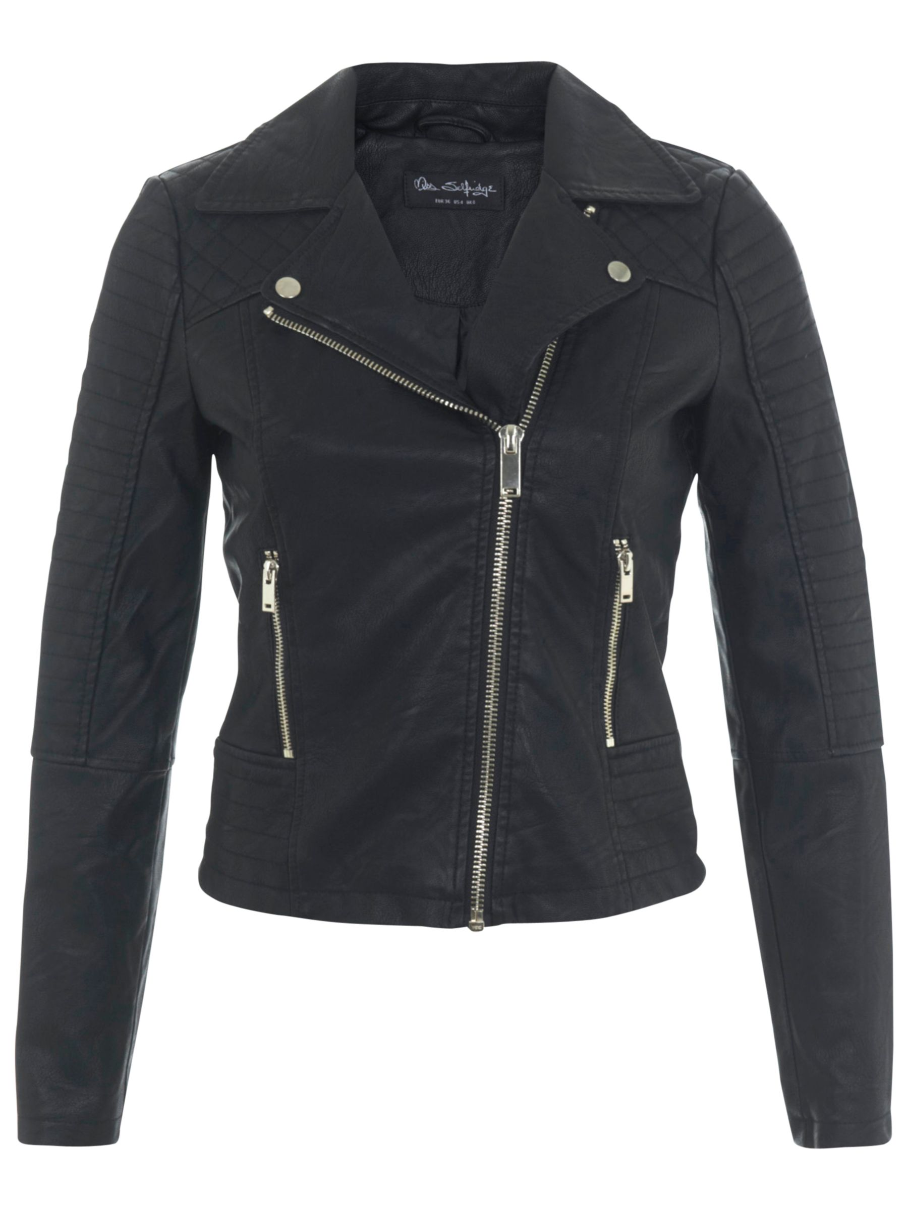 c038f4bec56 Miss Selfridge Ruby Faux Leather Biker Jacket at John Lewis   Partners