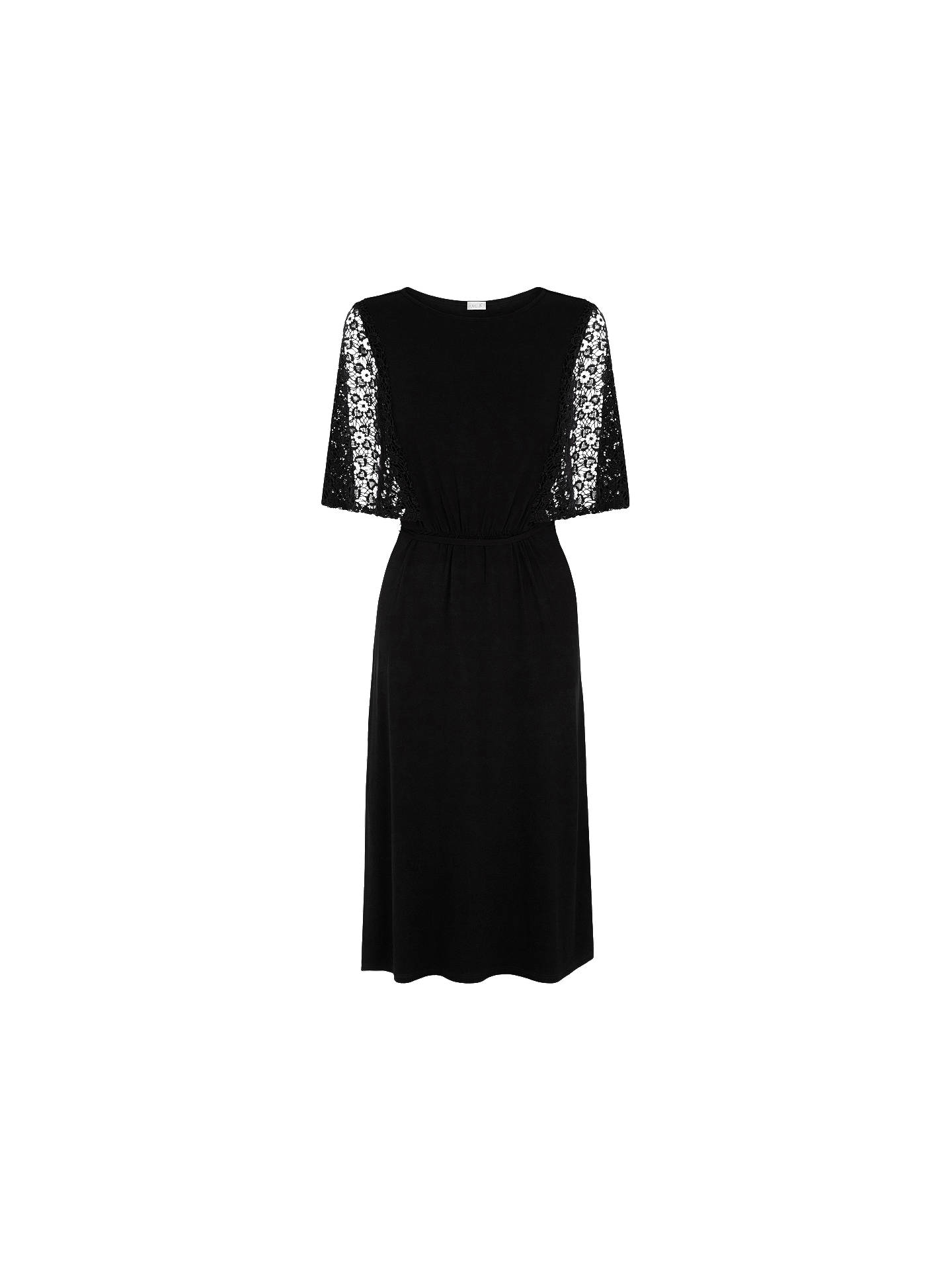 59aad4ab9063 Buy Oasis Lace Sleeve Victoriana Midi Dress, Black, XS Online at  johnlewis.com ...