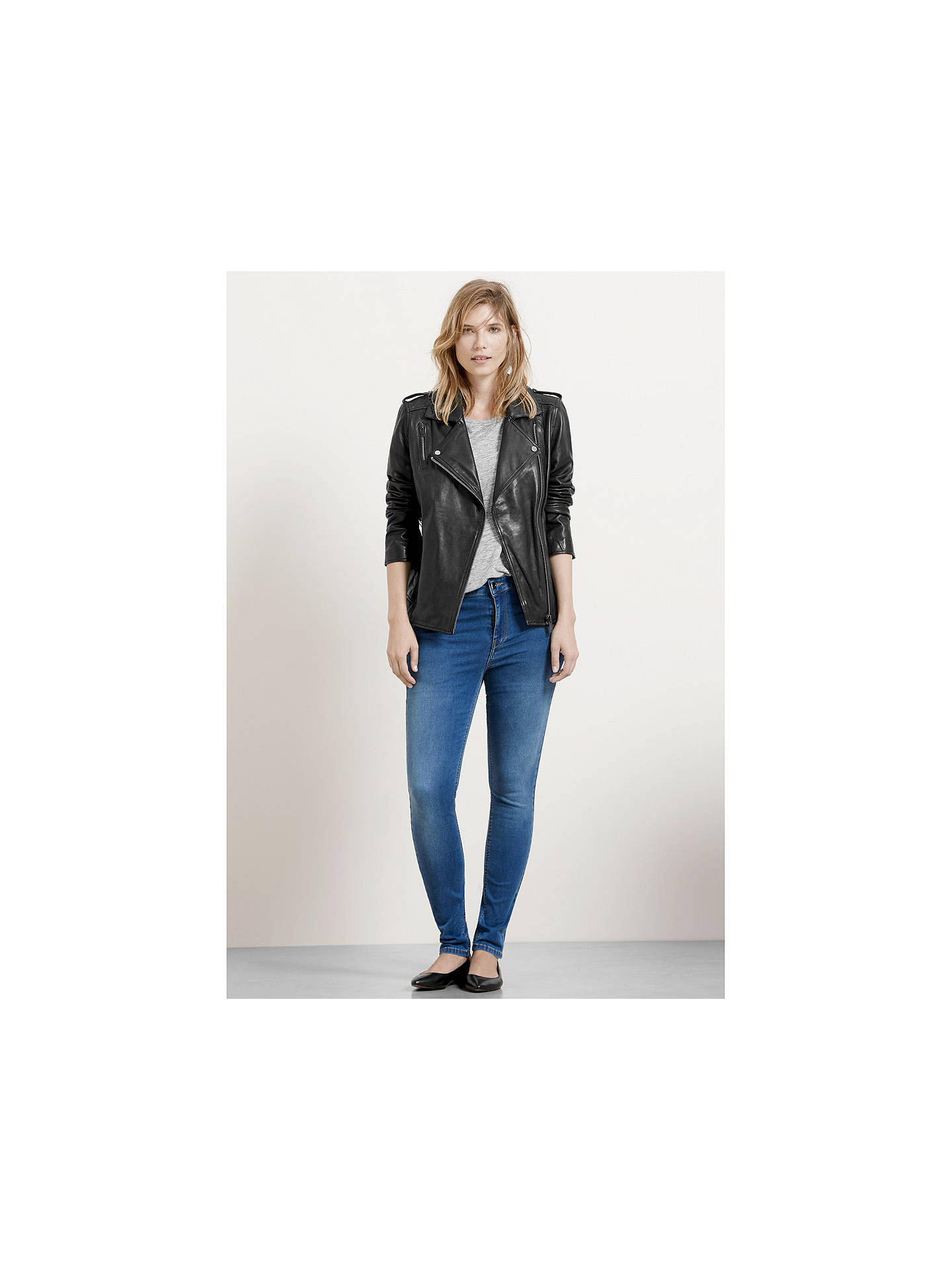Buy Violeta by Mango Leather Biker Jacket, Black, S Online at johnlewis.com