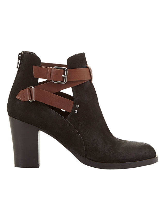 Buy Mint Velvet Davina Buckle Detail Block Heeled Ankle Boots, Black/Tan, 3 Online at johnlewis.com