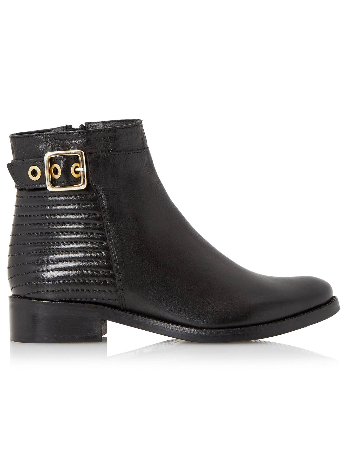 cefbcd302e4 Dune Padston Leather Buckle Trim Ankle Boot, Black at John Lewis ...