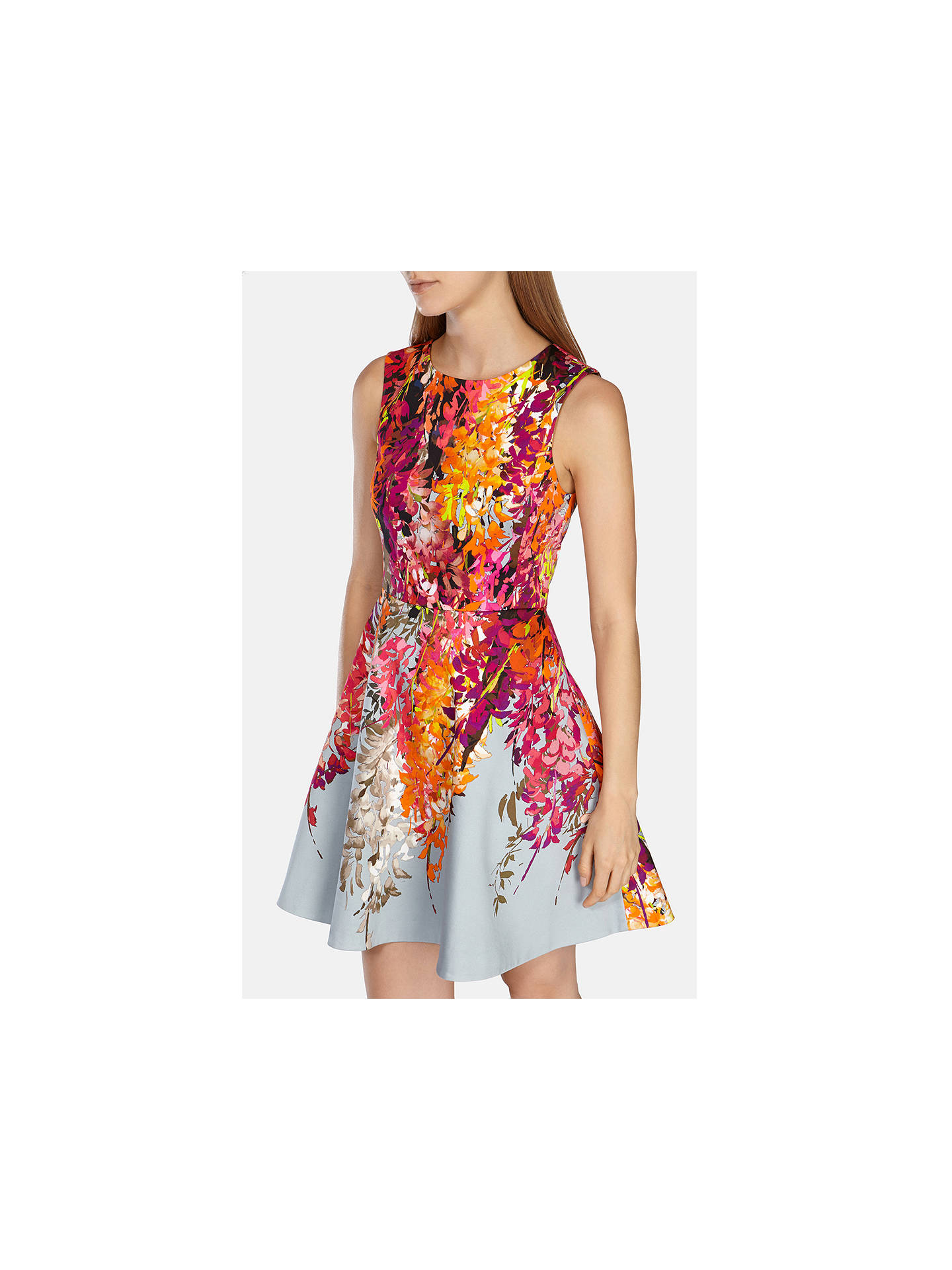 3baaedd1e28 ... Buy Karen Millen Oriental Floral Print Fit And Flare Dress, Pink / Multi,  6 ...