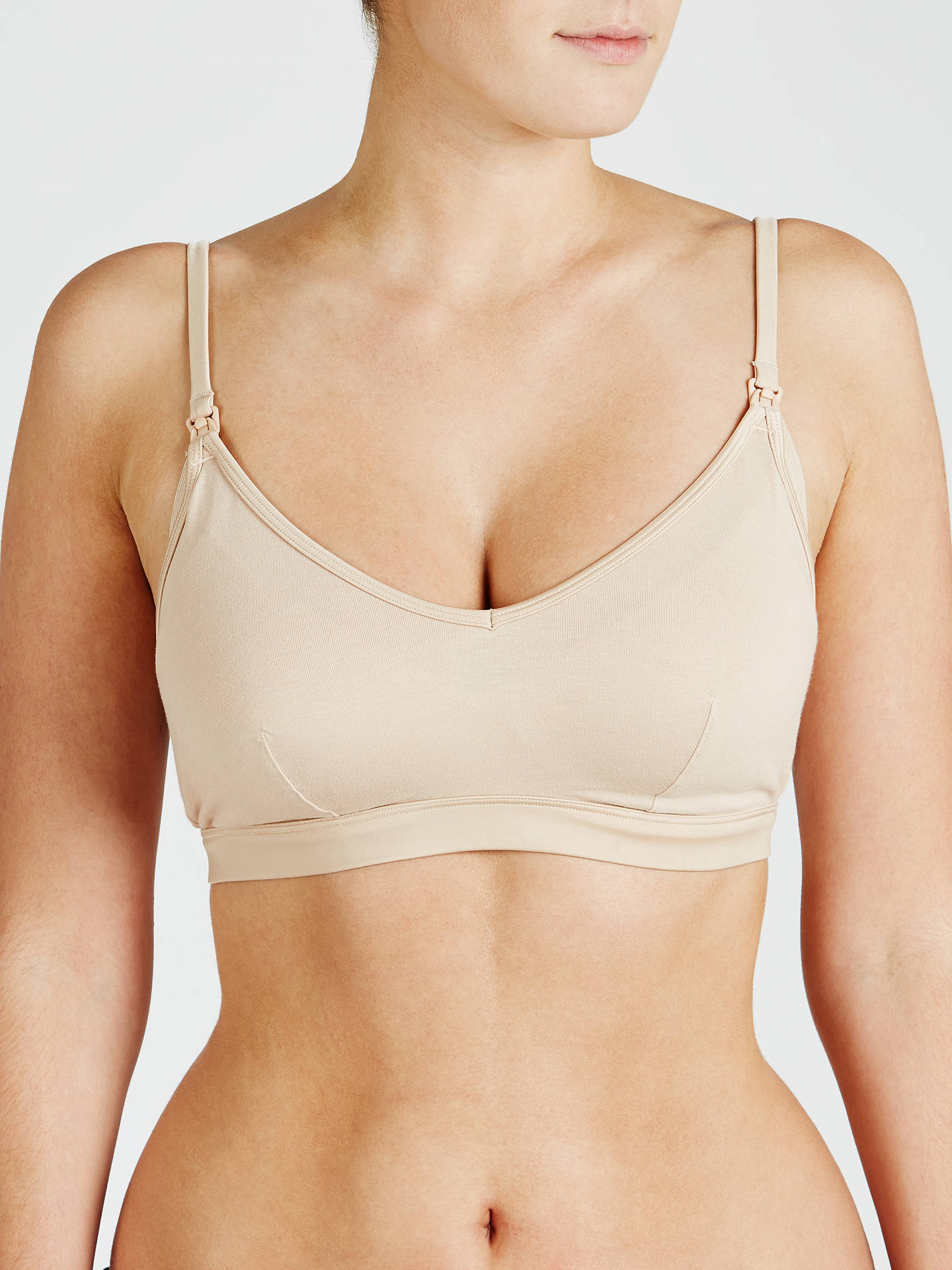 BuyJohn Lewis & Partners Maternity Satin Band Crop Top Nursing Bra, Nude, M Online at johnlewis.com