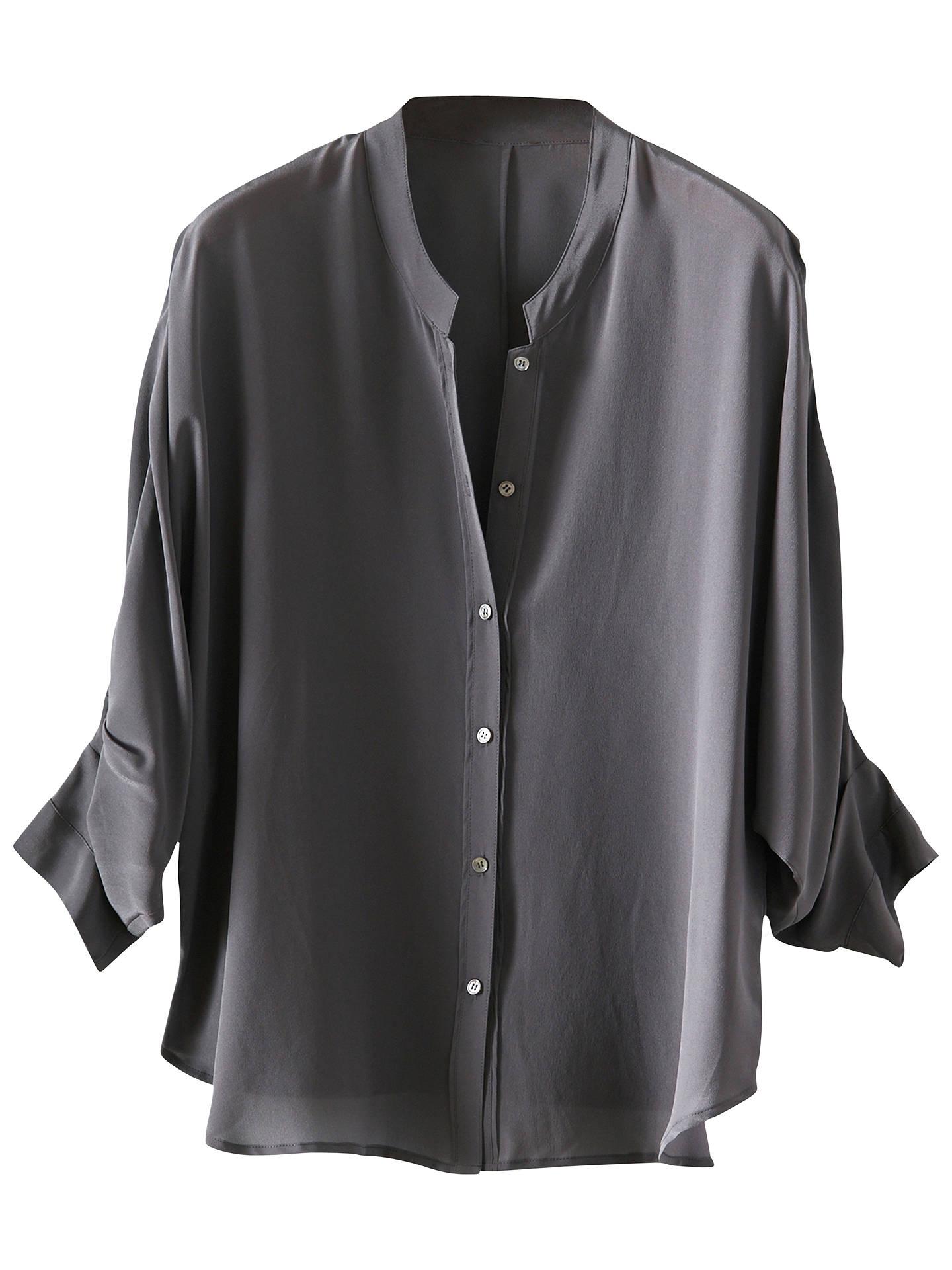 1c356f873bf7eb Buy Poetry Pure Silk Shirt, Dark Grey, 8 Online at johnlewis.com