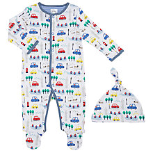Buy John Lewis Baby City Print Sleepsuit with Hat, Multi Online at johnlewis.com