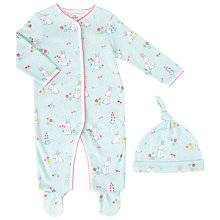 Buy John Lewis Baby Rabbit Sleepsuit and Hat, Turquoise Online at johnlewis.com