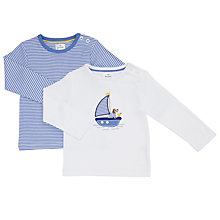 Buy John Lewis Baby Boat Top, Pack of 2, White/Blue Online at johnlewis.com