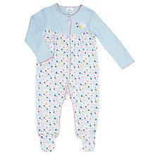 Buy John Lewis Baby Stripe and Floral Sleepsuit, Blue Online at johnlewis.com