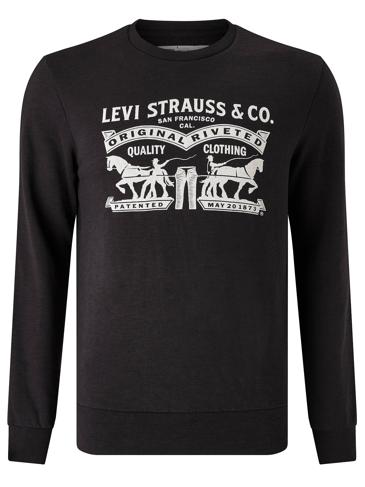 f5d4bd86 Buy Levi's Two Horse Graphic Crew Neck Sweatshirt, Black, S Online at  johnlewis.