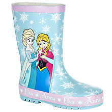 Buy Disney Frozen Anna & Elsa Patterned Wellington Boots, Blue Online at johnlewis.com