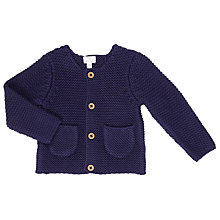 Buy John Lewis Baby Chunky Knitted Cardigan, Navy Online at johnlewis.com