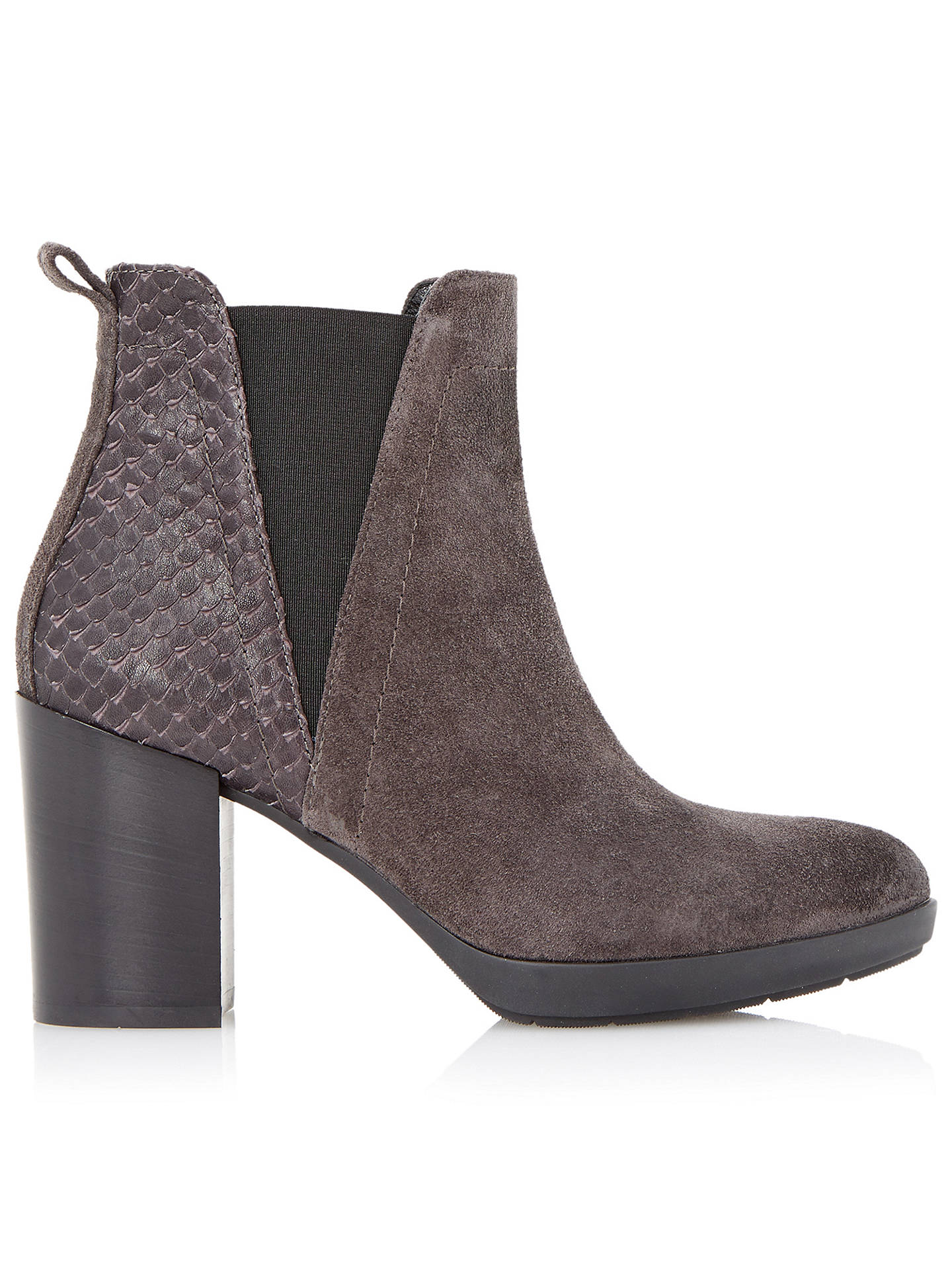 Buy Dune Black Pondo Block Heeled Ankle Boots, Grey Suede, 3 Online at johnlewis.com